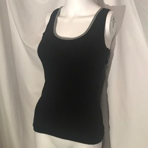 Poof! Black Tank Top With Gray & Button Accents